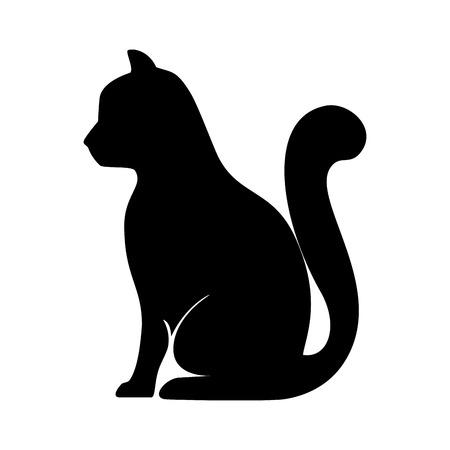Illustration for cat  animal feline mascot pet domestic silhouette vector illustration - Royalty Free Image