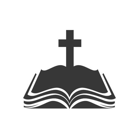 Illustration pour holy bible religion cross open book christianity catholicism silhouette vector illustration - image libre de droit