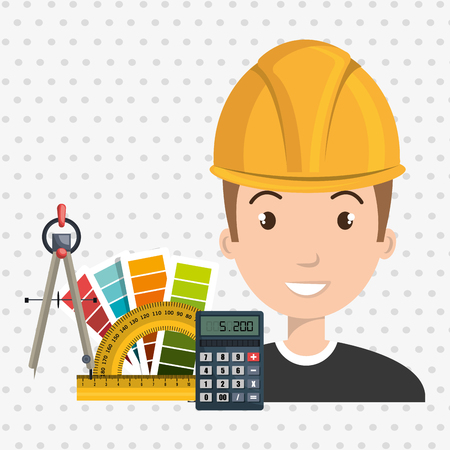 architect tool man work vector illustration icon