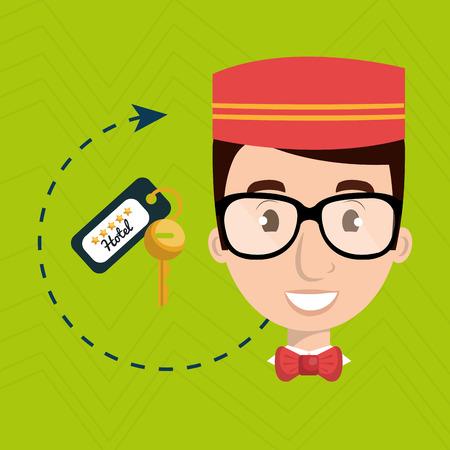 Illustration pour bellman hotel employee icon vector illustration design - image libre de droit