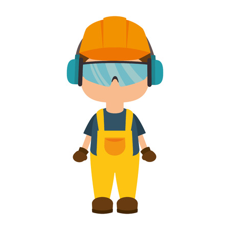 avatar worker wearing  industrial security protection equipment. vector illustration