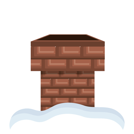 chimney of bricks  with white snow. house element. vector illustration