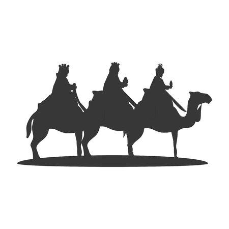 Illustration for Three Wise Men on camels. christmas religious symbol. vector illustration - Royalty Free Image