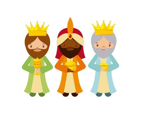 Illustration pour cartoon cute Three Wise Men with over white background. colorful design. vector illustration - image libre de droit