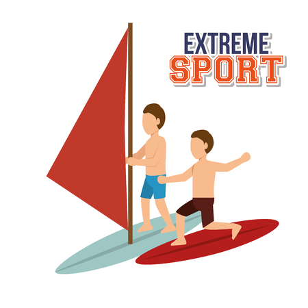 extreme sport water surfing windsurfer vector illustration