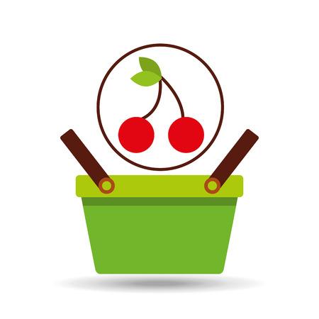 commerce basket tasty cherry vector illustration