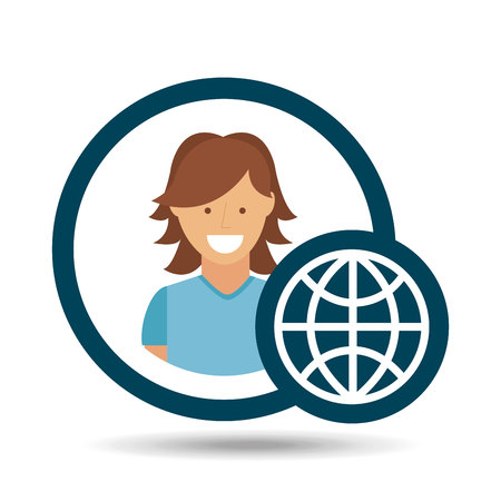 character girl globe social media concept vector illustration