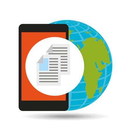 global document file social network vector illustration