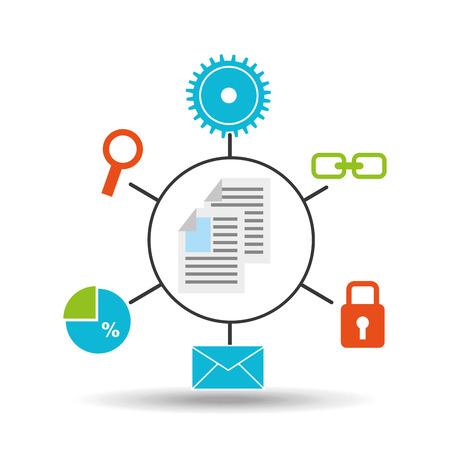 document technology social media concept vector illustration