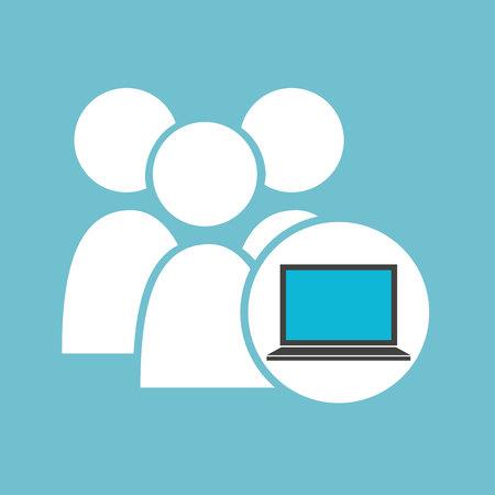 social media laptop group team vector illustration