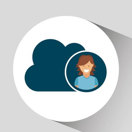 character girl cloud social media concept vector illustration