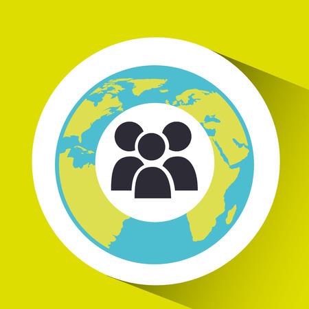 group social media world map vector illustration