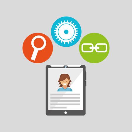 tablet technology social media concept vector illustration