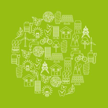 Ilustración de green idea and ecology icons on circle shape over green background. colorful design. vector illustration - Imagen libre de derechos