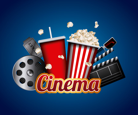 Illustration pour cinema related icons over blue background. colorful design. vector illustration - image libre de droit