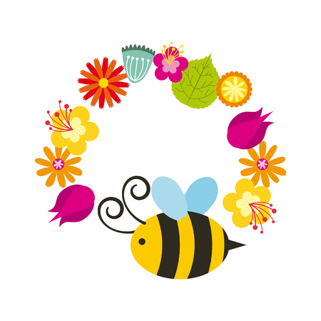 bee and wreath of flowers over white background. colorful design. vector illustration