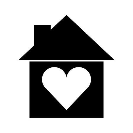 house silhouette with heart vector illustration design