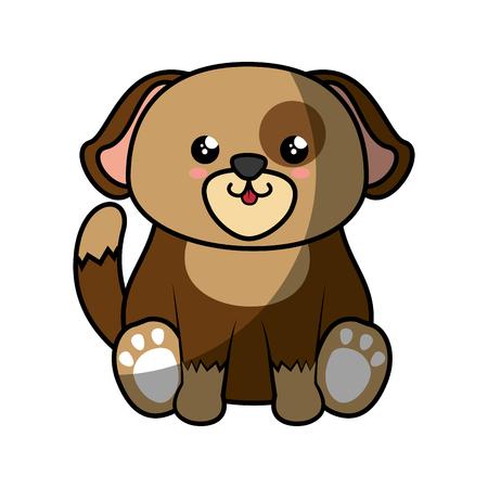 kawaii dog animal icon over white background. colorful design. vector illustration