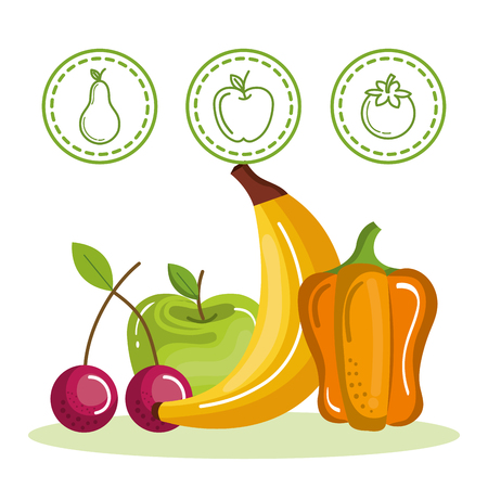 Colorful fruits and vegetables with stickers over white background vector illustrationのイラスト素材