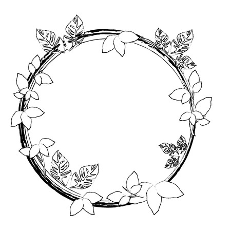 Round frame with flowers icon vector illustration graphic design