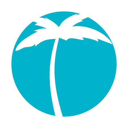 tree palm beach icon vector illustration design