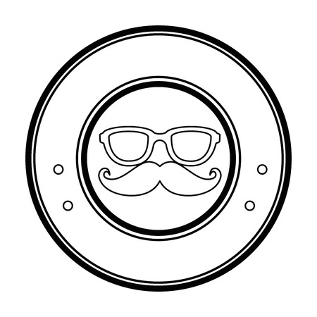 seal stamp with mustache and glasses icon over white background vector illustration