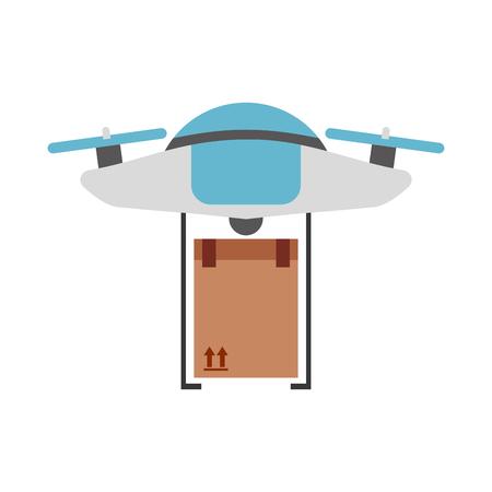 Ilustración de drone flying technology with box carton vector illustration design - Imagen libre de derechos