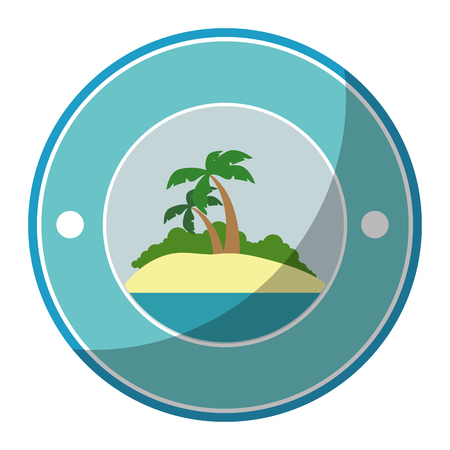 button with tropical palms icon over white background colorful design vector illustration