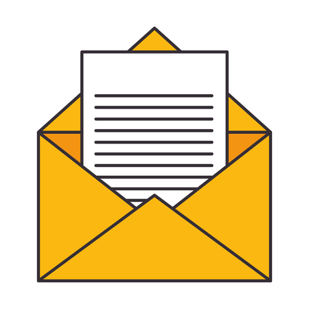 envelope and letter page icon over white background vector illustration
