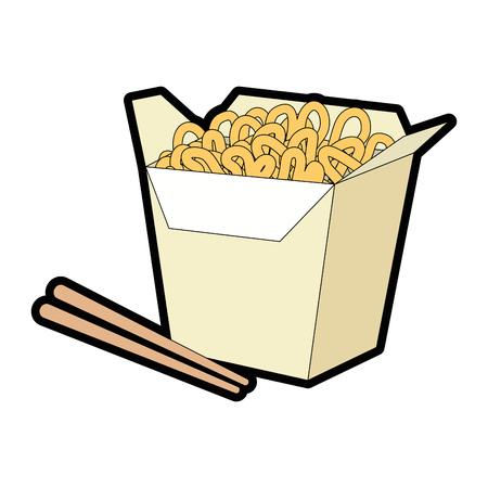 noddle box food over white background graphic