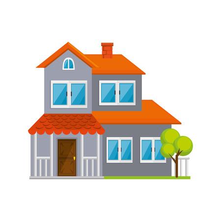 Ilustración de modern house icon over white background vector illustration - Imagen libre de derechos