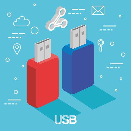 two usb memory sticks backup accessories technology vector illustration