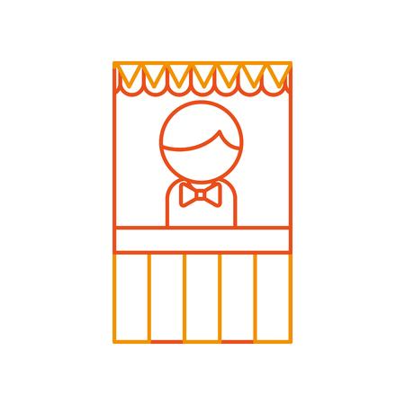 ticket shop carnival with salesman vector illustration design