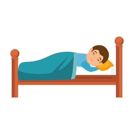 Illustration for man sleeping on the bed vector illustration design - Royalty Free Image