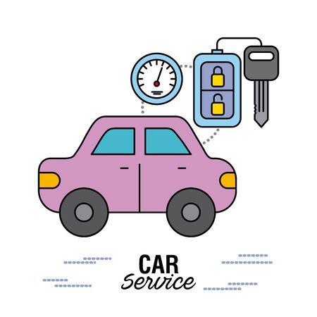 car service control remote key speedometer vector