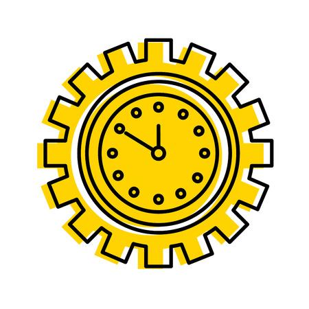Illustration pour clock inside gear business time work concept vector illustration - image libre de droit