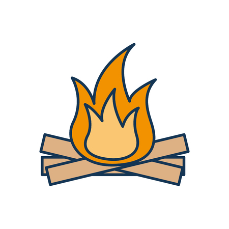 hot and warm bonfire flame wooden vector illustration