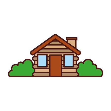 wooden cabin house bushes chimney camp exterior vector illustration