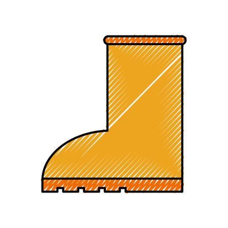 rubber boot rain seasonal icon style on white background vector illustration