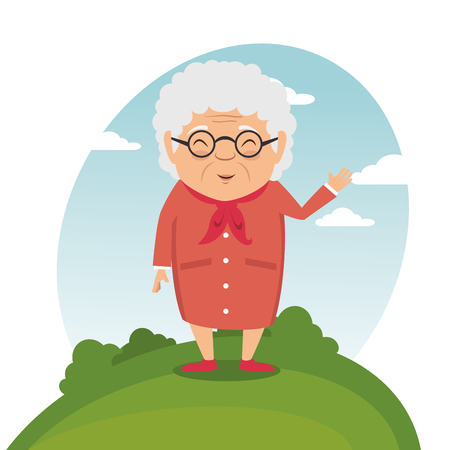 Illustration pour happy grandmother cartoon vector illustration graphic design - image libre de droit