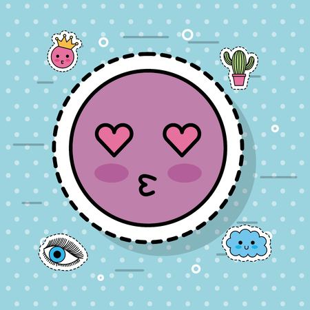 kiss emotion for emoji sticker vector illustration