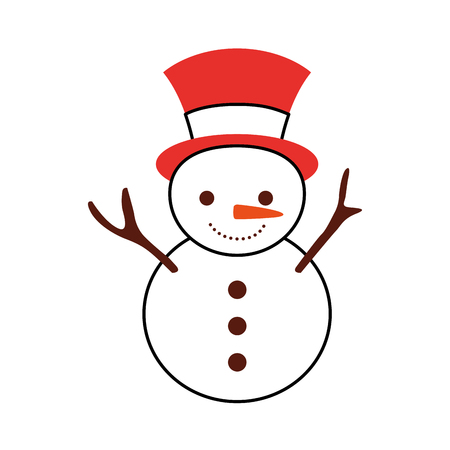 Illustration for christmas snowman cartoon smile character winter vector illustration - Royalty Free Image