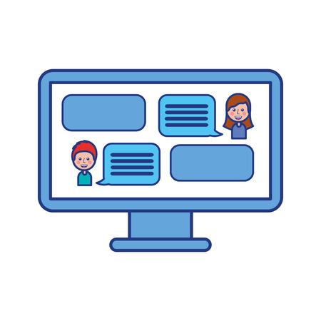 Illustration pour people chatting online conversation with texting message vector illustration - image libre de droit