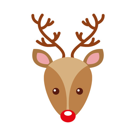 Ilustración de christmas reindeer head horned animal decoration vector illustration - Imagen libre de derechos