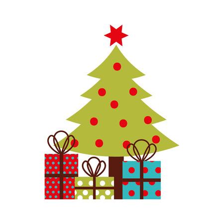 Ilustración de christmas tree pine decoration celebration party vector illustration - Imagen libre de derechos