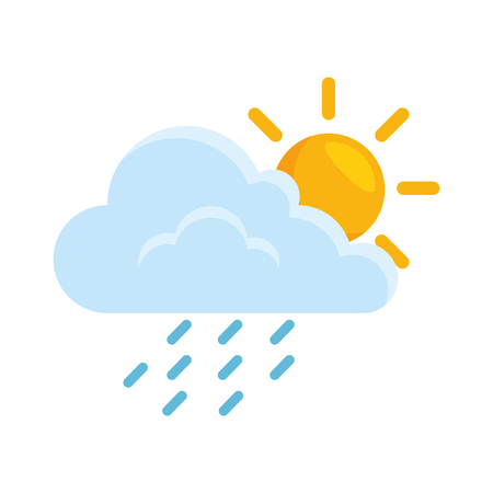 Illustration for cloud weather with sun and rain vector illustration design - Royalty Free Image