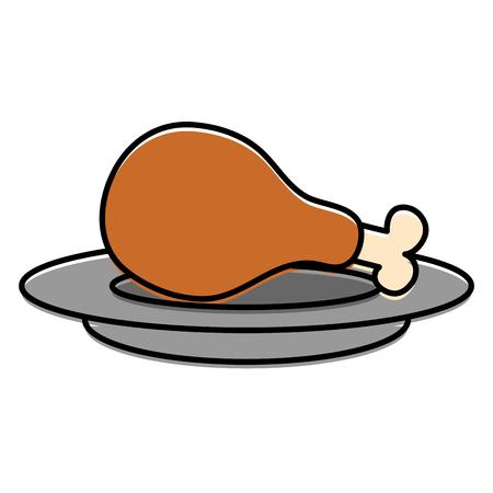 dish with chicken thigh vector illustration design