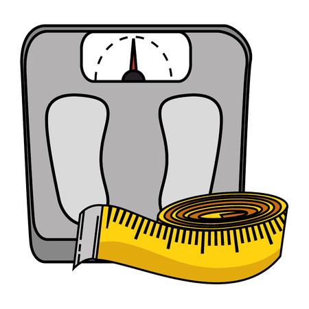 Ilustración de scale weight with tape measure icon vector illustration design - Imagen libre de derechos