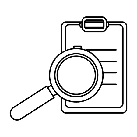 Photo pour checklist clipboard with magnifying glass vector illustration design - image libre de droit
