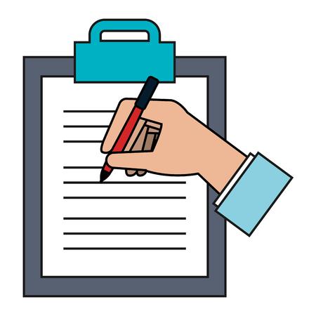 Illustration pour clipboard paper with hand signing vector illustration design - image libre de droit